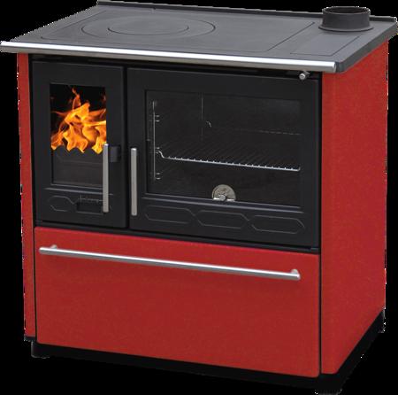 DOSTAWA GRATIS! 27772889 Kuchnia wolnostojąca, angielka na drewno 8kW, bez płaszcza wodnego (kolor: czerwony)