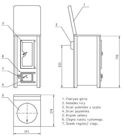 Piec grzewczy, 4,5kW Płomień 1/S na drewno 22774591