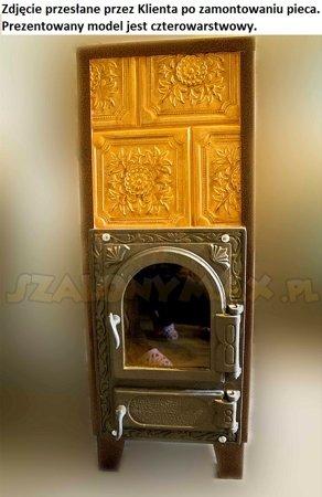 Piec grzewczy kaflowy 9kW Retro czterowarstwowy z szybą na drewno (wysokość: 100cm, wylot: 125mm) 92238186