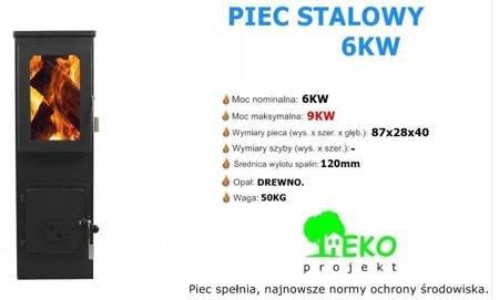 Piec stalowy koza, wolnostojący 6-9kW na drewno - spełnia Ekoprojekt 65872916